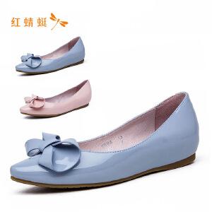 【专柜正品】红蜻蜓 新款正品套脚舒适休闲平底豆豆鞋女鞋