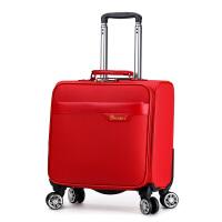18寸小行李箱万向轮横款登机箱小皮箱女迷你 红色荔枝纹 (皮面) 18寸