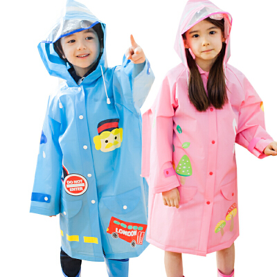 kocotree新款儿童雨衣男童女童小孩宝宝透气带书包位学生雨披卡通环保无味 防水实用 卡通 多色可选