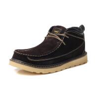 牛头酋长TBA新款英伦休闲鞋 冬季真皮时尚低帮系带板鞋 男潮流男靴短靴加绒工装靴