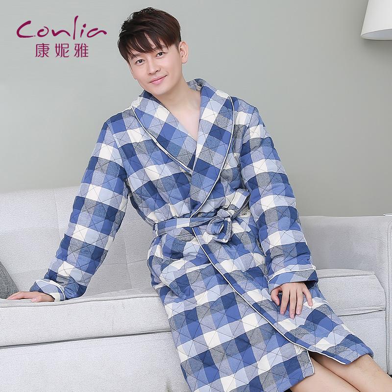 康妮雅夹棉睡袍 男士冬季加厚保暖休闲格子家居服中长款浴袍先领卷后购物 满399减50