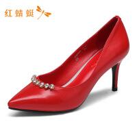 红蜻蜓女鞋春季新款浅口高跟真皮鞋女舒适优雅细跟单鞋子女高跟鞋