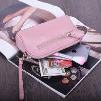简约时尚拉链化妆包手机包硬币包多功能欧美女式牛皮零钱包手拿包