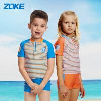 洲克新款儿童防晒分体泳衣婴儿条纹透气套装男女童速干游泳衣