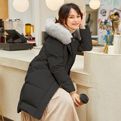 坦博尔羽绒服女中长款2019新款爆款真毛领时尚韩版白鸭绒保暖外套
