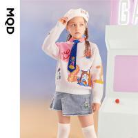 【2件3折后价:138】MQD童装女童卡通针织衫21秋装新款儿童撞色圆领毛衣中大童