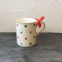 出口美国金色把手桃心爱心情人节马克杯水杯咖啡杯红茶杯子牛奶杯
