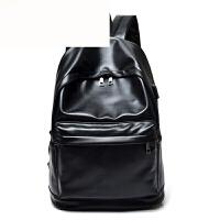 简约男士双肩背包纯色USB口充电功能背包学生男电脑包大容量书包 黑色