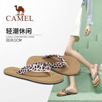 camel骆驼女鞋2019新款夏季平底凉拖女网红拖鞋女外穿时尚百搭人字拖女