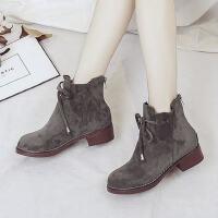 前系带中跟蝴蝶结人造短毛绒绒面橡胶时装靴冬季新款女鞋短筒