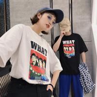 情侣装夏装2018新款短袖T恤潮流韩版个性卡通印花半袖情侣衫班服