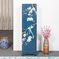 新中式家具衣柜明清古典边柜实木卧室高柜立柜彩绘小户型储物柜 单门 整装