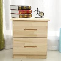 床头柜 实木收纳柜 储物柜 松木小柜子创意 原木 组装