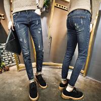 2018春季新款男修身弹力小脚裤显瘦男士个性破洞水洗牛仔长裤潮流