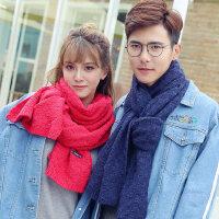 情侣学生加厚男士围脖纯色针织百搭潮新款韩版毛线围巾女