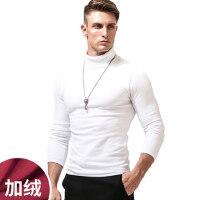 t恤男长袖高领打底衫韩版加绒加厚体恤简约纯色上衣外穿修身