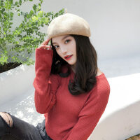 日系百搭报童帽韩版女士贝雷帽 甜美可爱毛线帽子女 新款报童帽南瓜画家帽