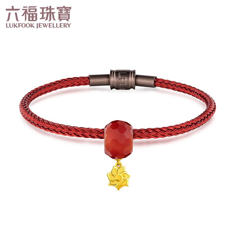六福珠宝黄金转运珠手绳七叶菩提红玉髓手链女定价佛的信物 寓意佛的佑护和祝福