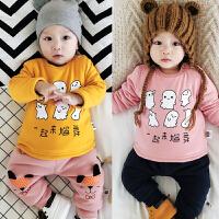 婴儿加绒冬季保暖加厚上衣宝宝内衣3-6-9-12个月01岁卡通套头绒衫