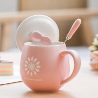 创意陶瓷杯 杯子 牛奶杯水杯咖啡杯情侣杯对杯马克杯带盖勺子s3f