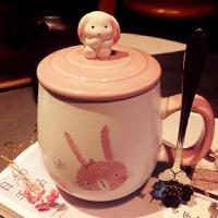 创意兔子陶瓷杯子可爱办公室茶杯学生水杯牛奶马克杯大容量带盖勺
