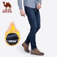 骆驼男装 秋冬新款弹力牛仔裤男士休闲裤子直筒宽松长裤韩版潮流