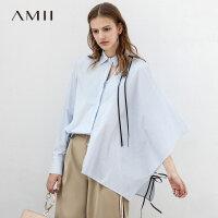 【到手价:163元】Amii极简性冷淡心机上衣设计感女2019春新翻领镂空个性不对称衬衫