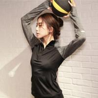 半拉链运动上衣女健身长袖T恤修身显瘦速干跑步外套立领瑜伽服