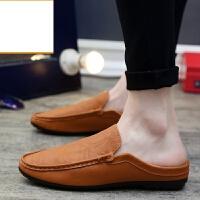 新品夏季透气包头镂空半拖鞋男一脚蹬英伦防滑无跟懒人新品豆豆皮凉鞋