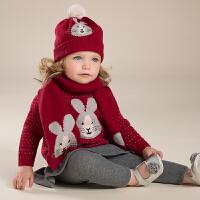 davebella戴维贝拉女童秋冬针织衫宝宝兔子提花套头毛衣DB3976