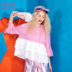 【尾品汇大促】妖精的口袋少年维特春秋装新款荷叶边喇叭袖套头连帽卫衣女