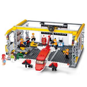 【当当自营】小鲁班新航空天地系列儿童益智拼装积木玩具 小型飞机维修厂M38-B0372
