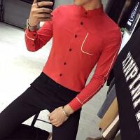 2018年春季潮男韩版修身长袖衬衫发型师个性镶边衬衣夜店潮流衬衫