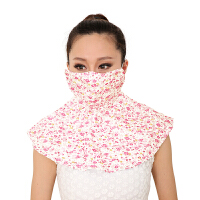 意构防尘口罩女款夏季防晒口罩遮阳 面罩防晒口罩透气护颈 红橙碎花