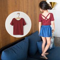 女童上衣夏装短袖T恤童装2018新款韩版时尚中大童纯色露背打底衫