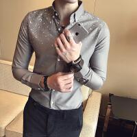春秋新款长袖衬衫男士修身型圆点印花衬衣韩版夜店发型师潮流寸衫