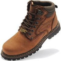 男鞋高帮冬季加绒保暖棉鞋户外登山雪地靴头层马丁靴