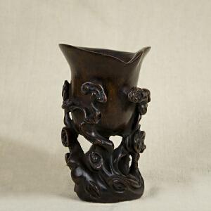 S79清《竹雕灵芝杯》(纯手工雕刻、雕工巧妙、栩栩如生、包浆丰厚、)