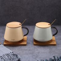杯子陶瓷带盖带勺子办公室情侣马克杯一对简约水杯咖啡杯家用