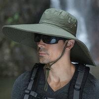 户外钓鱼帽盆帽太阳帽男士帽子加大帽沿渔夫帽男防晒帽遮阳帽