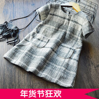 自留女童格子背心裙 2017冬季新款儿童韩版呢子连衣裙气质公主裙