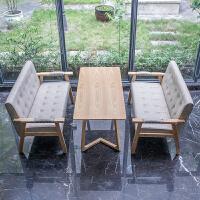 奶茶店桌椅组合经济型咖啡餐厅休闲办公双三人卡座甜品实木皮沙发 官方标配