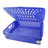 得力公文篮923 文件筐整理桌面收纳框 时尚资料盒 文件篮 蓝色