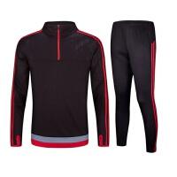 2018足球服外套长袖套装秋冬儿童运动服卫衣足球训练服套装 红色 红+黑