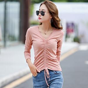 秋季新款女装V领上衣版纯韩色棉长袖T恤女修身体恤打底