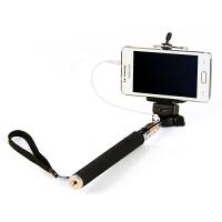 便携式可伸缩手机照相机自拍杆 带线--黑色