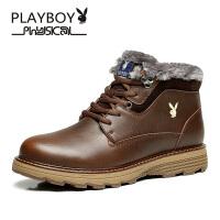 花花公子 2016冬季新款时尚皮靴重型厚毛冬季棉靴男靴 德-CX39587