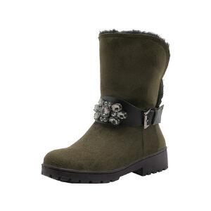 O'SHELL法国欧希尔新品冬季151-817韩版磨砂绒面平跟女士雪地靴