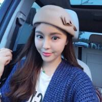 韩版鸭舌帽女蝴蝶结贝雷帽 日系百搭英伦帽子 韩版女士纯色画家帽子