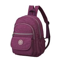 女包旅行背包双肩女休闲妈咪中年女士妈妈老人尼龙帆布防水包 紫色 3973小号